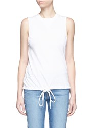 Bassike Drawstring Hem Organic Cotton Tank Top White