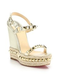 Christian Louboutin Cataclou Studded Metallic Leather Espadrille Wedge Sandals Ivory