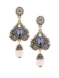 Heidi Daus Duel Birds Crystal Drop Earrings No Color