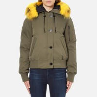 Kenzo Women's Removable Yellow Fur Lined Short Parka Dark Khaki