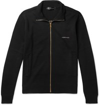 Versace Logo Embroidered Wool Zip Up Sweater Black