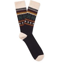 Anonymous Ism Fair Isle Jacquard Knit Socks Navy