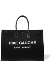 Saint Laurent Noe Leather Trimmed Printed Canvas Tote Black