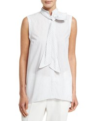 Brunello Cucinelli Sleeveless Striped Tie Neck Shirt Multi