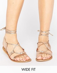 Asos Foundation Wide Fit Leather Lace Up Sandals Nude Metallic Beige