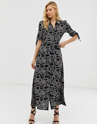 Zibi London Graphic Print Maxi Shirt Dress Black