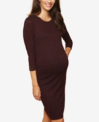 Motherhood Maternity Ribbed Sheath Dress Burgundy