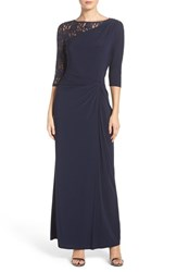 Ellen Tracy Women's Sequin Lace And Jersey Gown Navy