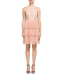 Whistles Anouk Pleated Lace Dress Nude
