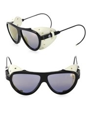 Moncler 55Mm Grommet Oval Sunglasses Black