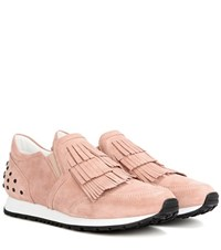 Tod's Sportivo Frangia Suede Sneakers Pink