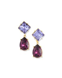 Kenneth Jay Lane Crystal Square And Teardrop Clip On Earrings Purple