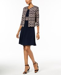 Jessica Howard Petite Dress And Printed Jacket Navy Tan