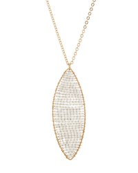 Panacea Long Beaded Marquise Pendant Necklace Gray