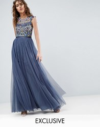 Needle And Thread Ditsy Floral Embroidery Maxi Dress Blue
