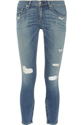 Rag And Bone Distressed Low Rise Skinny Jeans Blue