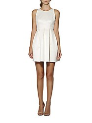 Cynthia Rowley Pleated Fit And Flare Dress Off White