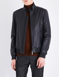 Brioni Stand Collar Leather Bomber Jacket Midnight Blue