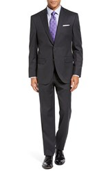 David Donahue Men's Big And Tall Ryan Classic Fit Solid Wool Suit Charcoal