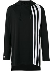Y 3 Striped Detail Hoodie Black