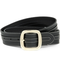 Sandro August Leather Buckle Belt Black