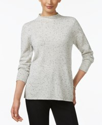 Charter Club Petite Cashmere Mock Neck Donegal Sweater Only At Macy's Heather Crystal