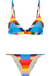 Mara Hoffman Vela Striped Triangle Bikini Light Blue