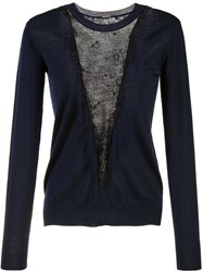 Adam By Adam Lippes Lace Panel Jumper Blue
