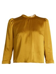 Roksanda Ilincic Ilya Hammered Silk Top Green