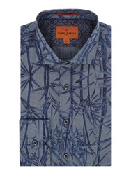 Simon Carter Men's Chambray Bamboo Print Harrison Shirt Blue