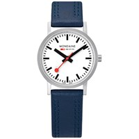 Mondaine Unisex Sbb Classic Stitch Leather Strap Watch Navy White A658.30323.16Sbq