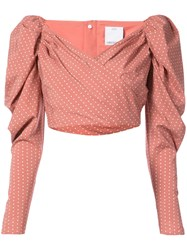 C Meo Collective Polka Dot Ruffle Cropped Top Polyester Polyurethane Nude Neutrals