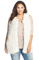 Vince Camuto Oversized Shaggy Faux Fur Vest Plus Size Antique White