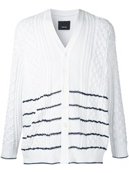 08Sircus Striped Cable Knit Cardigan White