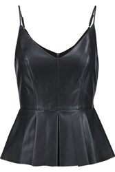 Bailey 44 Opium Poppy Pleated Faux Leather Peplum Top Midnight Blue