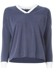 T By Alexander Wang V Neck Football T Shirt Blue