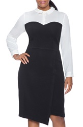 Eloquii Faux Bustier Sheath Dress With Wrap Skirt Plus Size White Black