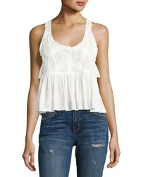 Current Elliott The Lace Sleeveless Cotton Top White