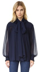 See By Chloe Ruffle Neck Chiffon Blouse Dark Navy
