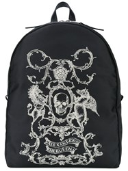 Alexander Mcqueen Skull Coat Of Arms Backpack Men Cotton Leather One Size Black