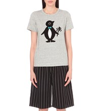 Chocoolate Penguin Cotton Jersey T Shirt Grey