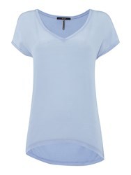 Oui V Neck Tee Top Light Blue