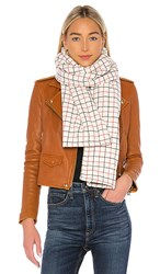 Rag And Bone Tattersal Down Scarf In Ivory Red Black. Ivory Multi