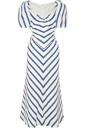 Alice Mccall At Last Cutout Striped Cotton Poplin Midi Dress White