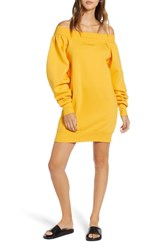 Ivy Park Blouson Bardot Sweatshirt Dress Golden Orange