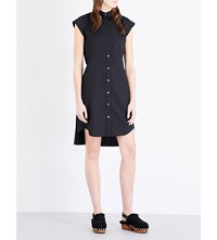 Sacai Pleated Back Woven Shirt Dress Black