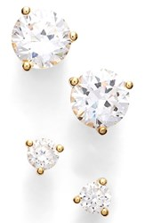 Women's Nordstrom Precious Metal Plated 0.50Ct Tw And 2Ct Tw Cubic Zirconia Stud Earrings Gold Set Of 2