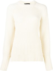 Cedric Charlier Ribbed Jumper White