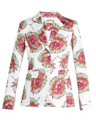 Altuzarra Fenice Abstract Floral Print Blazer Pink White