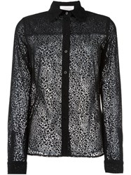See By Chloe Leopard Effect Sheer Shirt Black